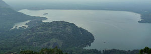 Aliyar Reservoir - 'Aerial view of Aliyar Reservoir, Dam at top