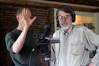 "Allan Graham - Allan Graham and Robert Creeley, during the taping of ""Add-Verse"", 2004, photo by Gloria Graham"