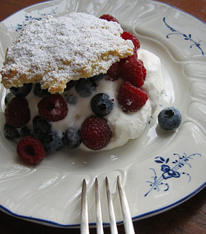 """Priscilla Martel - Martel created the recipe for this dessert entitled """"Almond and Mixed Berry Shortcakes"""". For recipe, see external links."""