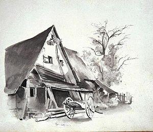 Eduard von Kallee - Image: Altes Gehöft in Benningen Eduard von Kallee