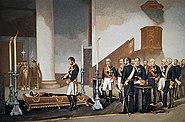 Amadeo I frente al féretro del general Prim de Antonio Gisbert 1870
