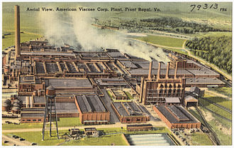 Front Royal, Virginia - Mid-20th century postcard showing an aerial view of the American Viscose Corporation Plant in Front Royal, Virginia.