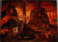 An angel leading a soul into hell. Oil painting by a followe Wellcome L0030887.jpg