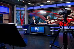2cd1318d7d6444 Cenk Uygur (left) and Ana Kasparian (right) on the show s set in 2015. The Young  Turks ...
