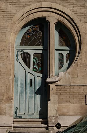 Art of Belgium - An Art Nouveau doorway in Ixelles, designed by Ernest Delune and built in 1902.