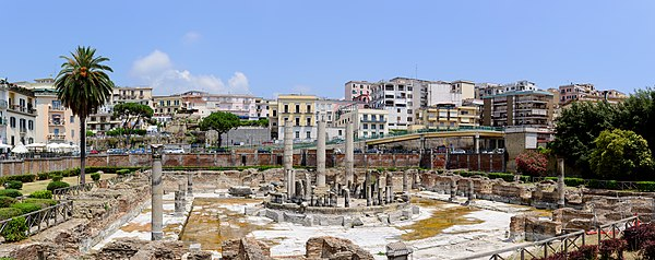 Ancient Roman market place and Serapis temple ruins, Pozzouli, Italy.