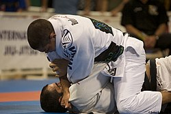 Andrea Galvao attempting a cross choke at the 2008 World Jiu-jitsu Championships