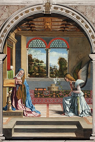 Andrea Previtali - Andrea Previtali's The Annunciation, ca. 1508. Note the display of an Oriental carpet.