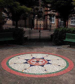 Anne Schwegmann-Fielding - 'Balkerne Star' designed by Anne Schwegmann-Fielding, Balkerne Heights, Colchester – made in 2006 and inspired by a roman mosaic flooring found in Colchester.