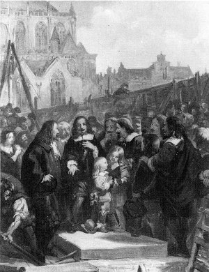Jacob de Graeff - Jacob de Graeff laid the foundation stone for the new city hall on the Dam in 1648, painted by Barend Wijnveld Jr. (19th century)