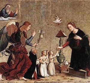 Antoniazzo Romano - Annunciation by Antoniazzo da Romano, in the church of Santa Maria sopra Minerva, Rome.