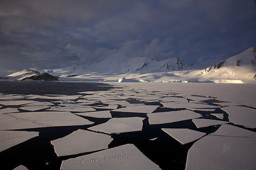 Antarctic mountains, pack ice and ice floes