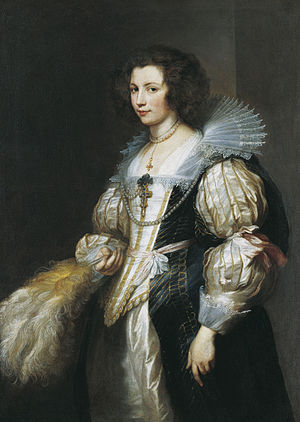 Virago sleeve - Portrait of Marie-Louise de Tassis by Van Dyck. White satin gown with virago sleeves tied with pink ribbon, worn under a black short-sleeved gown, c.1630.