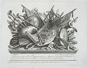 Trophy of arms - Antique trophy of arms, with Scottish bagpipes, engraving circa 1750 by William Hogarth (1697-1764)