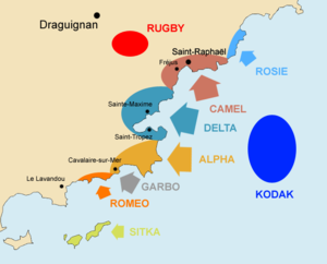 2nd Parachute Brigade in Southern France - Map of the Dragoon landings, the airborne landings Operation Rugby highlighted in red