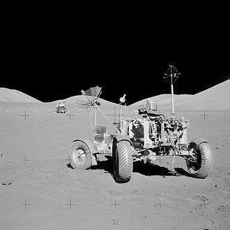 Apollo 17 - Apollo 17 lunar rover at its final resting place on the Moon. The surface electrical properties (SEP) receiver is the antenna on the right-rear of the vehicle