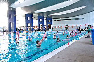 The performance of aerobic exercise in fairly shallow water such as in a swimming pool. Done mostly vertically and without swimming typically in waist deep or deeper water, it is a type of resistance training.