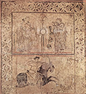 Arabic music - An 8th century Umayyad fresco from Qasr al-Hayr al-Gharbi, Syria.