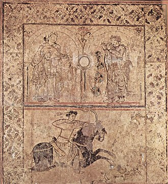 Umayyad fresco from Qasr al-Hayr al-Gharbi, built in the early 7th century Arabischer Maler um 730 002.jpg