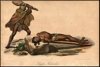 Hawaiian religion - Hawaiian sacrifice, from Jacques Arago's account of Freycinet's travels around the world from 1817 to 1820.