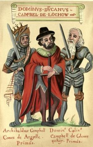 Duncan Campbell, 1st Lord Campbell - A 16th or 17th century illustration from The Black Book of Taymouth shows Duncan flanked by two of his descendants. On Duncan's right stands his grandson Colin Campbell, 1st Earl of Argyll and on his left is his son Colin of Glenorchy. (Description after Boardman, The Campbells.)