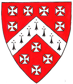 Stoke Gifford - Arms of Berkeley of Stoke Gifford: Gules, a chevron ermine between ten crosses pattee argent. These arms may be seen in The Gaunts Chapel, Bristol and are the arms of the Barons Berkeley with the difference of a chevron ermine in place of a chevron argent