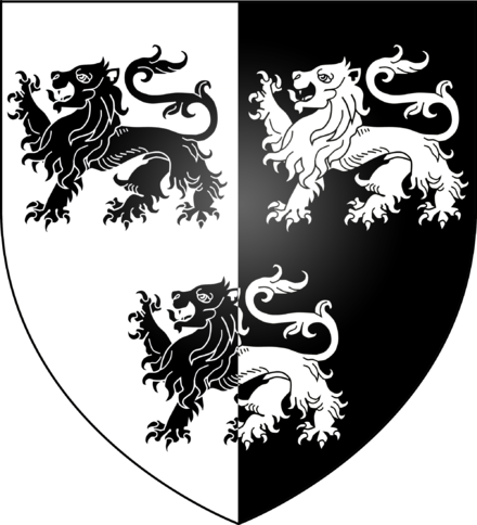 The arms of Thomas Pullyson, blazoned as Per pale argent and sable, three lions passant counterchanged Arms of the Pullison family of London.png