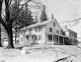 Arrowhead, the house in Pittsfield, Massachusetts in which Melville worked on Moby-Dick. Arrowhead farmhouse Herman Melville.jpg