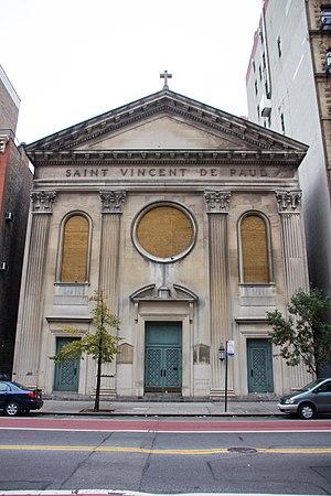 St. Vincent de Paul Church (Manhattan) - The boarded-up church in 2017
