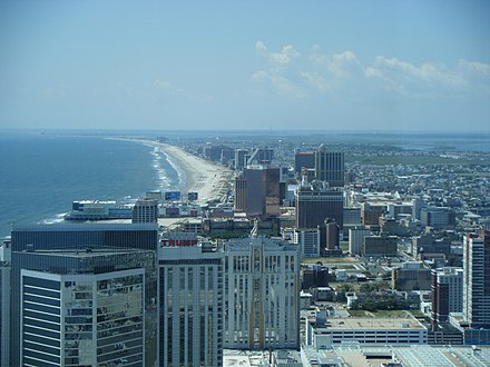 Atlantic City, looking southward, is an oceanfront resort and the nexus of New Jersey's gambling industry. Atlantic City skyline from 47th floor of Revel.jpg