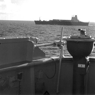 SS Atlantic Conveyor - Atlantic Conveyor approaching the Falklands. On or about 19 May 1982.