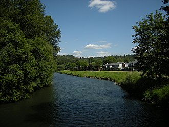 Green River (Duwamish River tributary) - Looking upriver from suspension bridge in Isaac Evans Park, Auburn, Washington