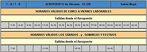 English: Alicante Airport - Bus to Elche Españ...