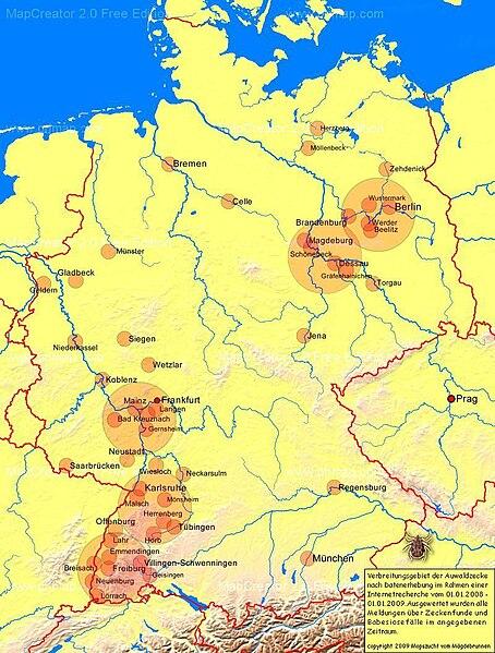 File:Auwaldzecke Verbreitungsgebiet Karte Risikogebiete Hundemalaria Babesiose.jpg