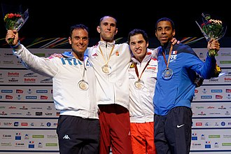 2014 European Fencing Championships - Podium of the men's épée: Pizzo, Rédli, Heinzer, and Lucenay