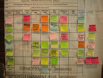 Saturday schedule grid at BarCampLondon 5