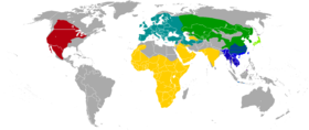 Badger ranges * Gold = Honey badger (Mellivora capensis) * Red = American badger (Taxidea taxus) * Teal = European badger (Meles meles) * Dark green = Asian badger (Meles leucurus) * Lime green = Japanese badger (Meles anakuma) * Blue = Chinese ferret-badger (Melogale moschata) * Indigo = Burmese ferret-badger (Melogale personata) * Azure = Javan ferret-badger (Melogale orientalis) * Purple = Bornean ferret-badger (Melogale everetti)