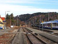 Bahnhof Schongau Gleise 1 (aufgelassen), 2, 3 und 4 (mit Triebzug).jpg