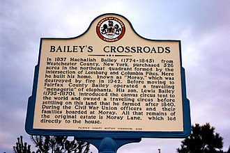 Bailey's Crossroads, Virginia - A historical marker in Bailey's Crossroads