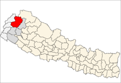 map of Bajhang, Nepal