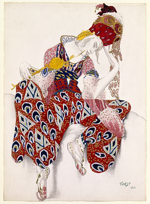 Paul Dukas - Costume design for Dukas's La Péri by Léon Bakst, 1922.