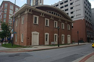 President Street Station - Historic 1850 front facing west, but now back of the current Baltimore Civil War Museum, 2008. This was the front entrance to the historic passenger station.
