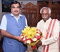 Bandaru Dattatreya meeting the Union Minister for Road Transport & Highways and Shipping, Shri Nitin Gadkari, to discuss the implementation of new projects in Telangana, in New Delhi.jpg