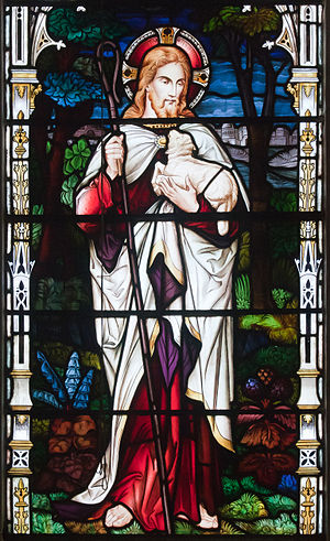 Bantry Church of St. Brendan The Navigator Third South Window He gathers the lambs in his arms 2009 09 09.jpg