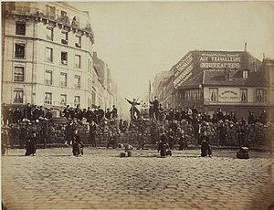 Social democracy - A barricade in Paris in March 1871, set up by revolutionary forces of the Paris Commune