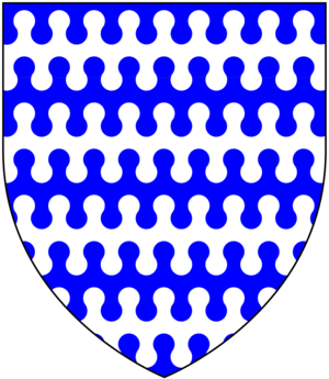 Nebuly -  An heraldic shield displaying Barry nebuly of nine azure and argent