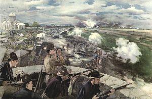 Battle of Caloocan - Maj. Gen. Arthur MacArthur observing the battle