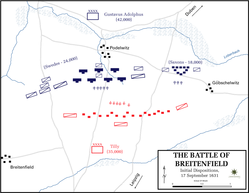Battle of Breitenfeld - Initial dispositions, 17 September 1631