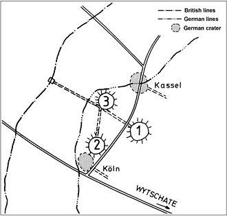 Mines in the Battle of Messines (1917) - Image: Battle of Messines 1917 mine plan Hollandscheschur Farm