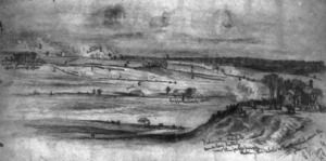 Battle of Salem Church - Attack on Gen. Sedgwick's Corps, seen from the north bank of the Rappahannock River. Forbes, Edwin, artist, May 4, 1863.